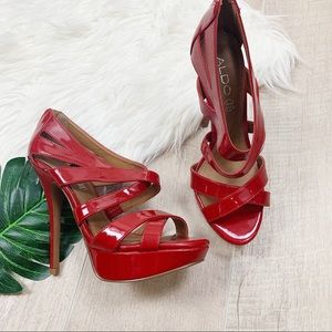 Aldo Red Strappy Open Toe Back Zip High Heel Pumps